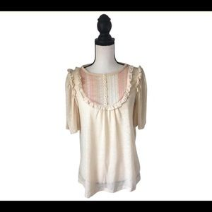 SUI By Anna SUI Cream & Pink Top / Size Small